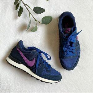 Nike internationalists blue and purple sneakers